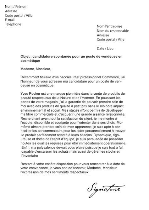 Lettre de motivation Yves Rocher (Vendeuse en cosmétique)