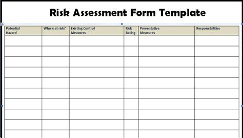 Risk Assessment Template Excel risk assessment form templates in word excel project