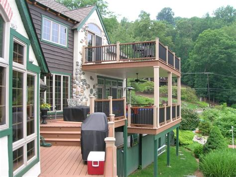 two story deck 2018 cost to build a deck design types decking materials prices