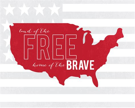 land of the free home of the brave free printable
