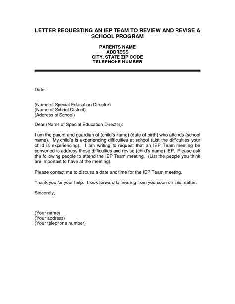 Work Evaluation Request Letter request iep letter