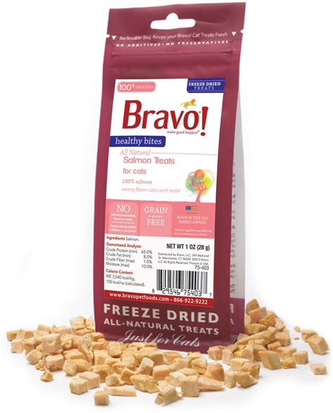 freeze dried treats bravo healthy bites salmon freeze dried cat treats 1 oz bag chewy