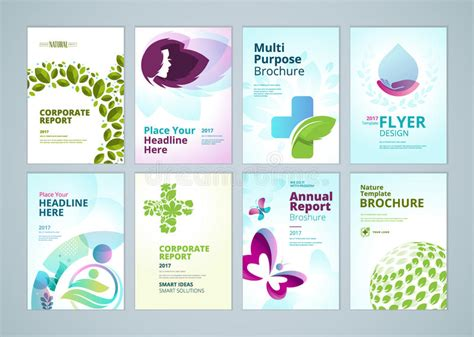 brochure design templates collection layout free vector in beauty and natural products brochure cover design and