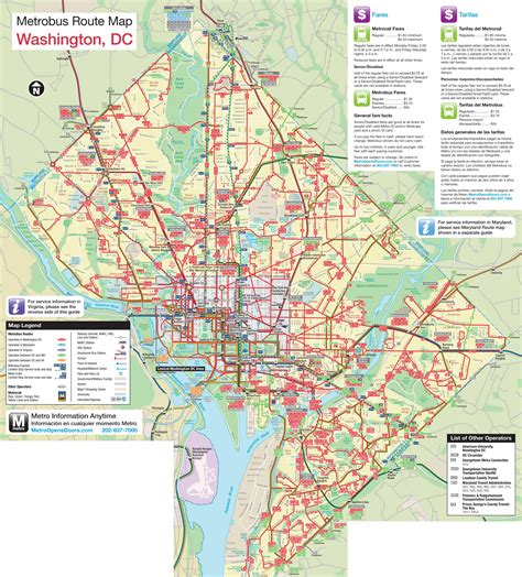 washington dc map of large metrobus route map of washington d c washington d
