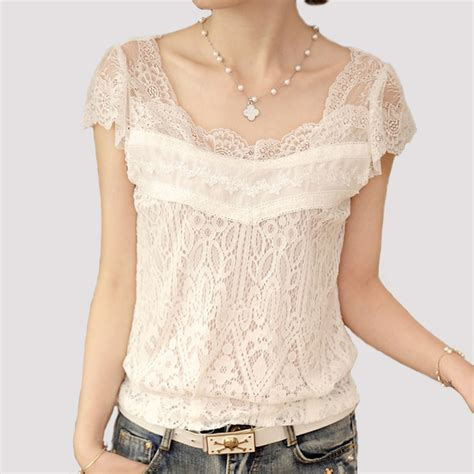 Frii Top Blouse White crochet blusa feminino shirt summer new white lace blouse tops sleeve hollow