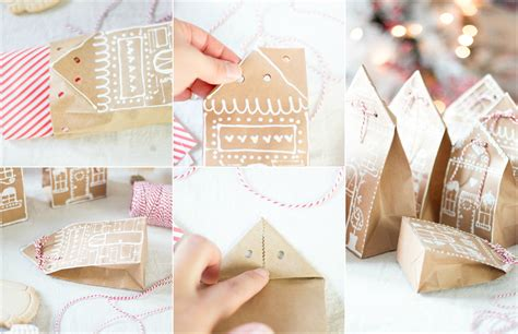 How To Make Paper Gingerbread - gingerbread house paper bag gift wrap idea craftberry