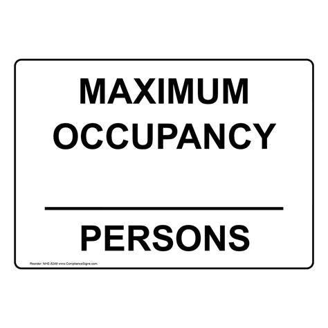 Custom Maximum Occupancy Persons Sign Nhe 8249 Industrial Notices Occupancy Sign Template