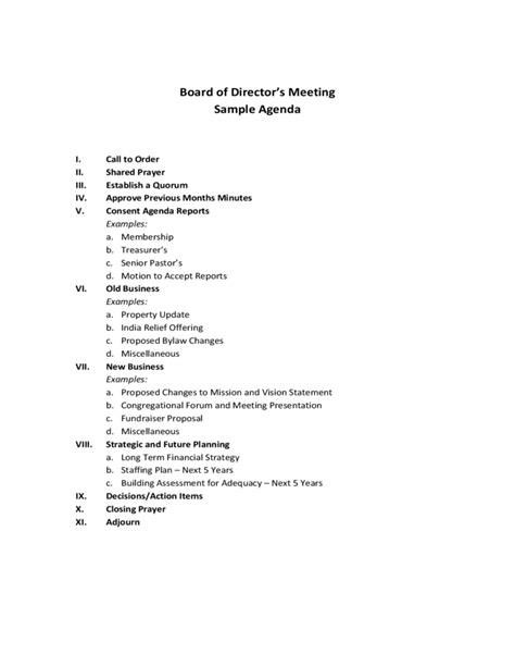 directors meeting agenda template board of director s meeting sle agenda free