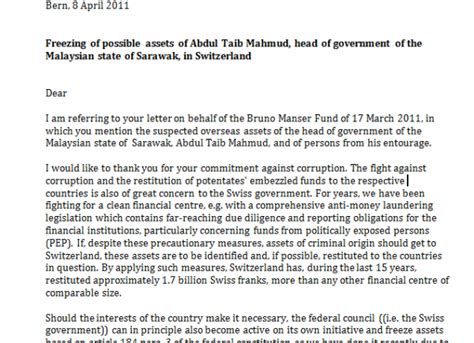 Complaint Letter Sle Malaysia Swiss President Orders An Investigation Into Taib S Assets Exclusive 171 Lim Kit Siang