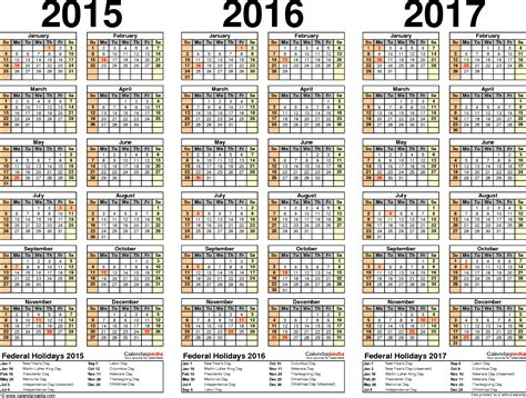 printable calendar 2015 to 2017 2015 2016 2017 calendar 4 three year printable excel