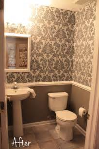 small downstairs bathroom like the wallpaper and chair