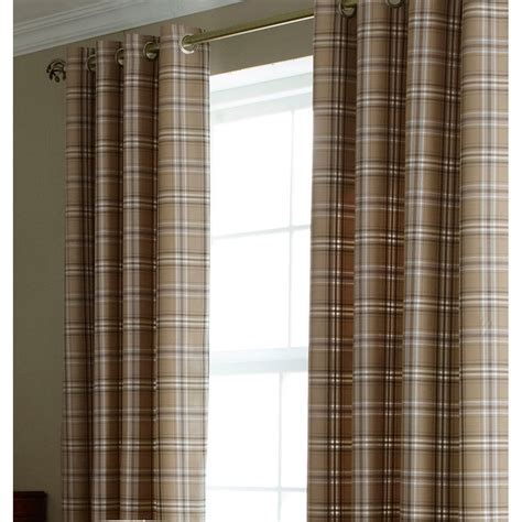 tartan curtains iliv cerato charcoal tartan check lined eyelet curtains