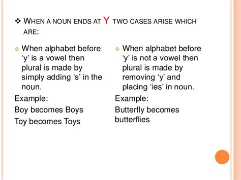 exle of y as a vowel for changing singular nouns into plural nouns