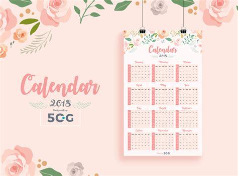 Free One Page 2018 Printable Wall Calendar Design Template Calendar Design Template 2018