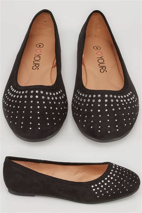 Po Address Finder Black Ballerina Pumps With Diamante Detail In True Eee Fit