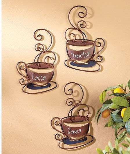 decorative art in coffee set of 3 decorative metal cafe coffee cups wall art