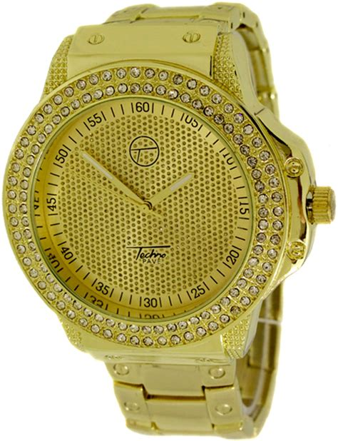 gold chunky techno pave bling bling techno pave