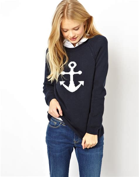 Sweater Hoodie Honda Navy lyst wills anchor jumper in blue