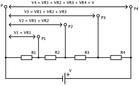 series resistors and voltage division voltage divider with three outputs