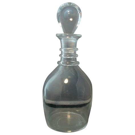 early steuben glass clear ringed decanter from