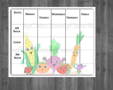 preschool menu template daycare menu template weekly menu template printable
