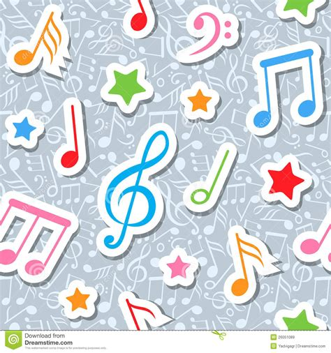 pattern music video seamless pattern with music notes and stars stock vector