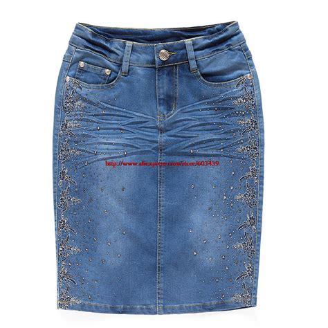 White Blue Flower Pencil Skirt Size S M L s 3xl 2014 korean summer fashion slim embrodiery denim skirt blue flower pencil