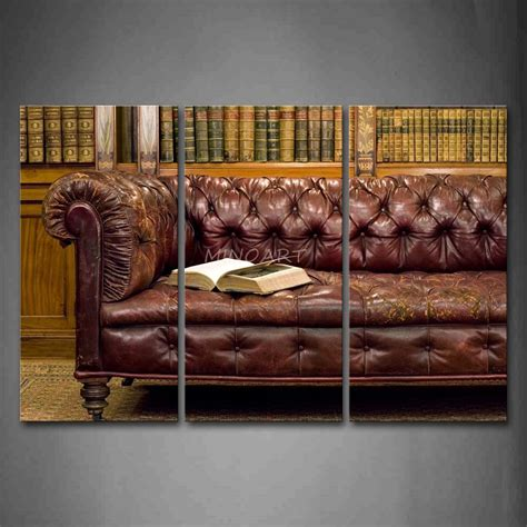 sofa painting 3 piece wall art painting leather sofa with a thick book