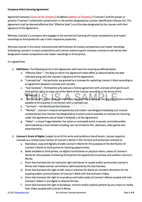 brand licensing agreement template non exclusive licensing contract template