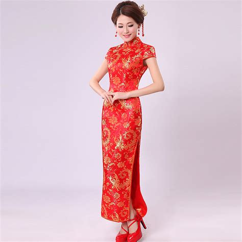traditional chinese cheongsam dresses chinese traditional dress pteris flower married red