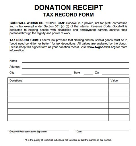 goodwill donation receipt template 10 donation receipt templates free sles exles