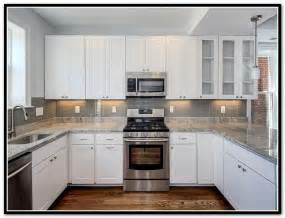 Kitchen Backsplash Photos White Cabinets gray subway tile backsplash white cabinets home design ideas