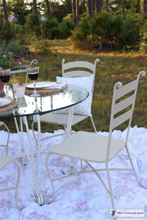 diy chalk paint outdoor furniture using chalk paint on metal patio furniture the crowned goat