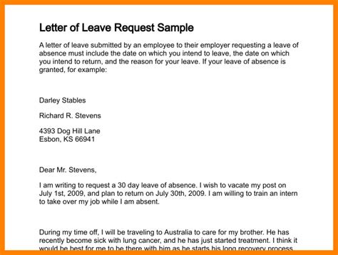 Day Request Letter Exle 6 leave request email exle science resume