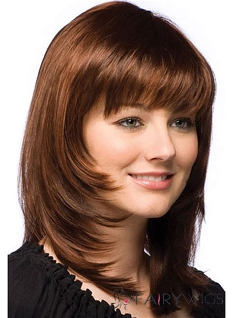 hair extention for round face wholesale medium wavy brown real hair capless wigs