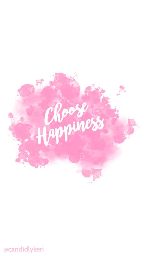 girly water wallpaper choose happiness quote pink splatter paint watercolor