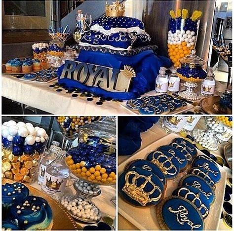 Royal Blue And Gold Baby Shower Decorations by Blue Gold Royal Baby Shower Buffet Crown Pillow Cake