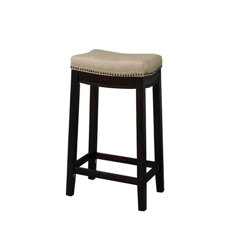 linon home decor bar stools linon home decor allure 24 in dark walnut cushioned bar