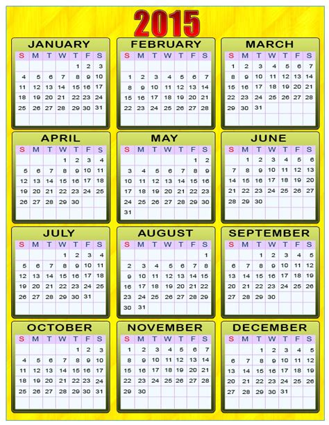 2015 yearly calendar with holidays printable