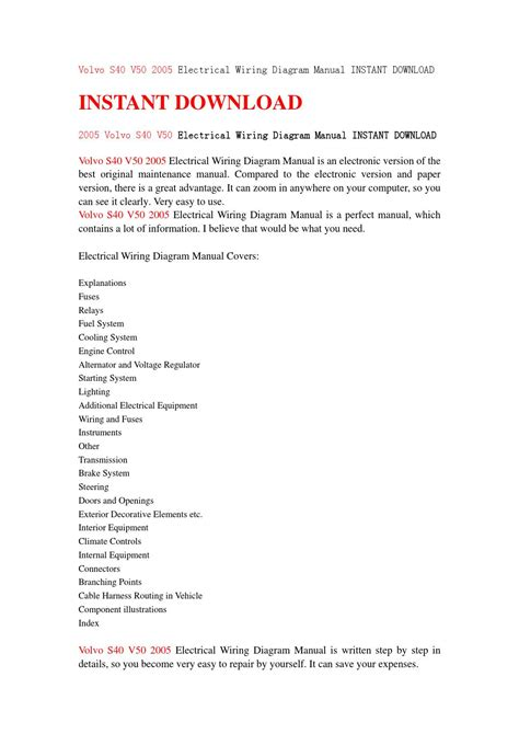 volvo s40 v50 2005 electrical wiring diagram manual instant download by jhsefnsenf76 issuu