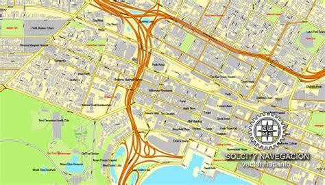 printable city road maps perth australia printable vector street city plan map