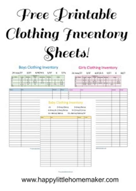 Free Printable Children S Clothing Inventory Sheets Baby Toddler Girls Boys Happy Little Clothing Store Inventory Spreadsheet Template