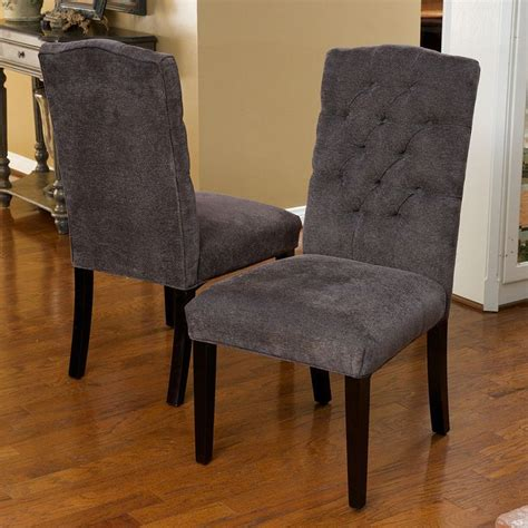 Elegant gray linen upholstered parsons dining chairs w tufted back