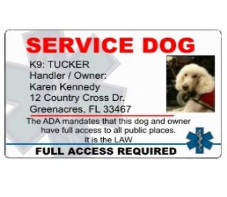 service animal id card template service id official service badges