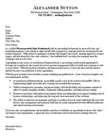 pharmaceutical sales cover letter sle