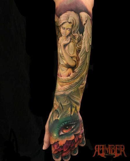 quarter sleeve forearm tattoo designs color hand and forearm quarter sleeve by rember tattoos
