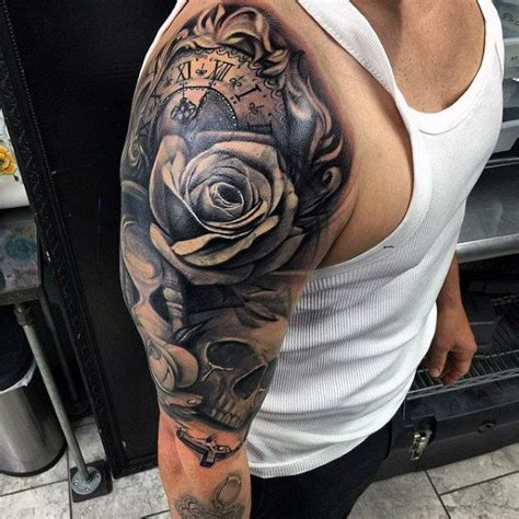 sleeve tattoo ideas for men black and grey 100 rosary tattoos for sacred prayer ink designs