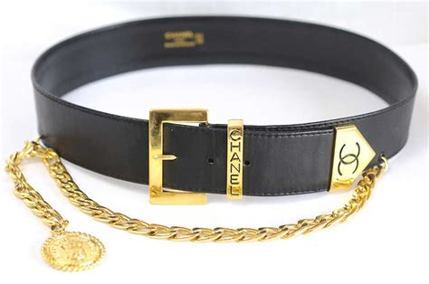 chanel vintage chanel belt lambskin leather wide name