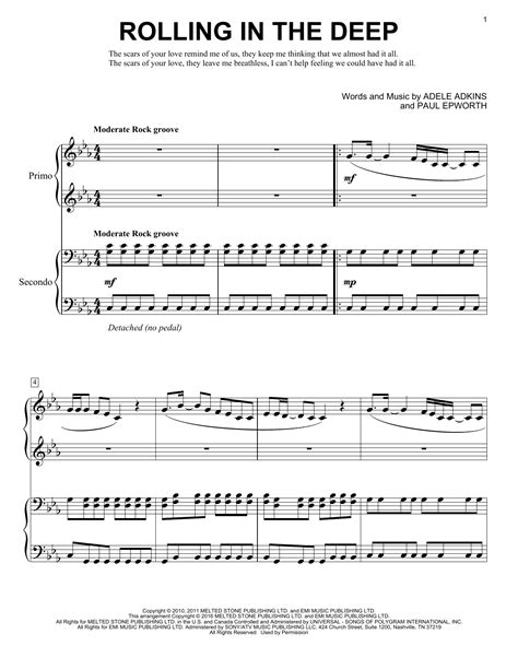 printable lyrics rolling in the deep rolling in the deep sheet music direct