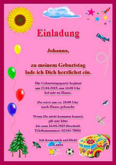 Muster Einladung Zum Kindergeburtstag Einladungskarte Kindergeburtstag Einladung Zum Paradies